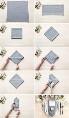 How To Fold A Napkin With A Menu Wedding Napkin Folding, Simple Napkin Folding, Napkin Folding Pocket, Christmas Napkin Folding, Napkins For Wedding, Paper Napkin Folding, How To Fold Napkins, Folding Napkins, Linen Napkins