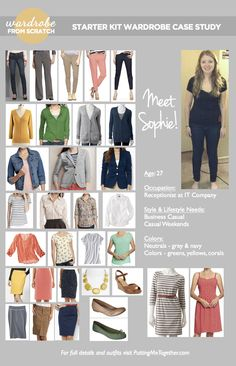 Wardrobe From Scratch: Case Study - SOPHIE [my own personal case study from Audrey at Putting Me Together... how cool is that?!] Wardrobe Basics, New Wardrobe, Build A Wardrobe, Capsule Wardrobe, Wardrobe Ideas, Fashion Capsule, Capsule Outfits, Putting Me Together, Travel Wardrobe