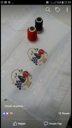 Embroidery on a handtowel༺✿༻ Cross Stitch Owl, Cross Stitch Borders, Cross Stitching, Funny Cross Stitch Patterns, Cross Stitch Designs, Wool Embroidery, Embroidery Stitches, Canvas Template, Palestinian Embroidery