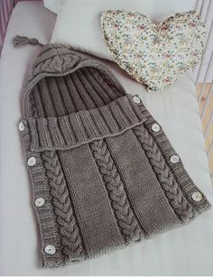 Details about Aran Baby Sleeping Bag Tassel/Hood Button Sides 0 3 Months Knitting Pattern Baby Knitting Patterns, Knitting For Kids, Baby Patterns, Crochet Baby, Knit Crochet, Häkelanleitung Baby, Baby Cocoon Pattern, Wool, Bunting