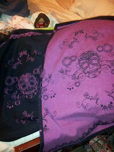 Lenny Lamb Day of the Dead Skulls Black/Pink Wrap