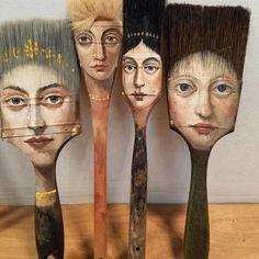 Alexandra-Dillon axe painting brush artwork, Artist Alexandra Dillon Paints Classic Portraits On Everyday Objects Art And Illustration, Illustration Fashion, Art Illustrations, Paint Brush Art, Paint Brushes, Classic Portraits, Wow Art, Arte Pop, Assemblage Art