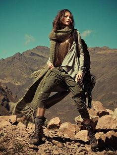 Cardigan, loose top, cropped skinny cargoes, boots+socks.  Love this scarf but a lighter one would do.