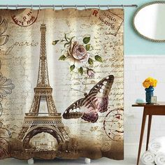 Treasure Map Polyester-Fabric Shower Curtain Flannel Bath Rug Mat 180*180cm