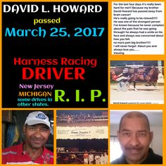 Harness racing driver  DAVE L. HOWARD R. I. P.
