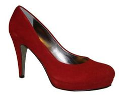 "Sacha London : ""Julie"" Red Kid Suede Pump With Platform  Beautiful & Comfortable Pump In A Gorgeous Color!"