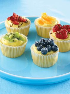 These luscious cheesecakes flavored with vanilla and almond extract are sized just right. Garnish with fresh fruit, lemon curd or melted chocolate swirls.