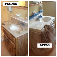 Refinish a terrible sink in no time! So simple. Pick up a can of 'bathtub and sink refresher' at Home Depot!