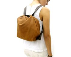 Leather backpack purse convertable backpack Soft lightweight leather bag womens crossbody bag, outside zip pocket, size for option