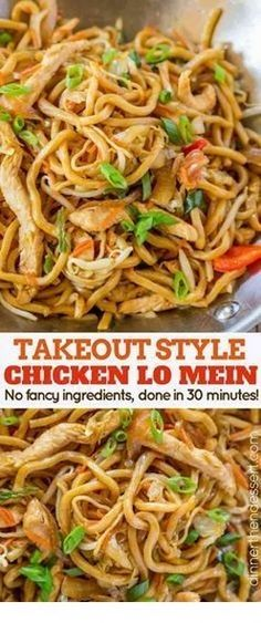 Takeout Style Chicken Lo Mein ~ with chewy Chinese egg noodl. - Takeout Style Chicken Lo Mein ~ with chewy Chinese egg noodles, bean sprouts, chicken, bell peppers and carrots in under 30 minutes like your favorite Chinese takeout restaurant! Vegetarian Chinese Recipes, Authentic Chinese Recipes, Easy Chinese Recipes, Asian Recipes, Healthy Recipes, Chinese Food Recipes Chicken, Chinese Meals, Chinese Chicken Lo Mein Recipe, Chicken Lo Mein Recipe Healthy