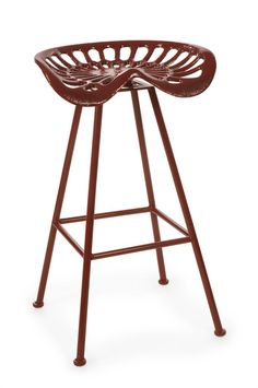 How cool is this tractor chair?  A nostalgic tractor seat has been converted to a stool and finished in a cherry red paint. Powder coated and outdoor safe.