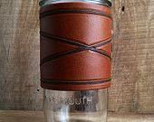 24oz Travel Mug | Hand Tooled Leather | Crossed Borders | Light Brown