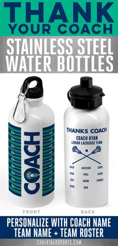Thank your Lacrosse Coach with Lacrosse designed water bottles that can be customized to include your coach name, team name and team roster! A great end-of-season gift.