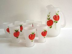 Pitcher Juice Glasses  Mid Century Frosted Pitcher by GentlyKept,