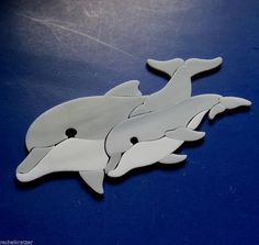 DOLPHIN Precut Stained Glass Inlay Kit Mosaic Tile Garden Stone Sealife Nautical