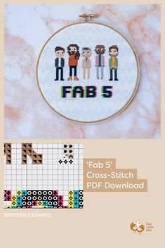 """PDF cross-stitch pattern of the """"Fab 5"""" from Netflix's 'Queer Eye' show. Available for download through twolittlekits.com"""