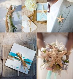 A Beach Wedding For Summer beach wedding decorations Fun ideas...Love them yet again a bit much, although I do like the starfish hanging off the ceremony isle chairs.