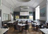 The main restaurant features a fantastic open kitchen with a stone hearth oven; at The Montpellier Chapter Hotel, Cheltenham