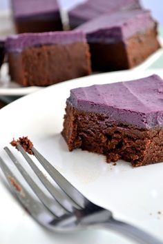 Raw Berry Cream Brownies: (Adapted from Practically Raw Desserts) Brownies: 1T Water 1/2t Vanilla extract 1/4C Maple syrup OR Agave nectar (I used 2T of each) 1/3C Unsweetened apple purée 1/3C Raw cacao powder 1/3C Coconut flour 1/3C Almond flour/blanched ground almonds Pinch of salt Berry Cream: 1/2C Mixed frozen berries, defrosted (You can use fresh if in season) 1/4C Cashews, soaked, rinsed and drained 1T Maple syrup 1t Lemon juice Pinch of salt 2T Coconut oil, melted