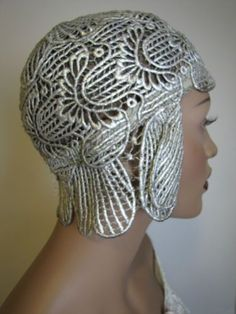 1920s Art Deco Flapper Silver Metallic Cloche