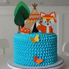 Fox Party, Baby Party, Bolo Mickey Baby, Pastel Mickey, Different Kinds Of Cakes, Fox Cake, Baby Boy 1st Birthday, Paper Cake, Cakes For Boys