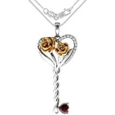 .40 Carat T.G.W. Created Ruby and Diamond Accent Sterling Silver Key Pendant, 20""