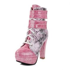 Women's #Fashion #Shoes: BeautyLover Women's Western #Style High Chunky Heels #Pink Bottom Ankle #Boots with Lace-up and Hook-and-Loop