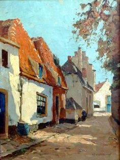 Delfgaauw, G.J.Delfgaauw, Gerard Delfgaauw 1882-1947, Dorpstraat Palet Knife Painting, Building Painting, Amazing Paintings, Z Arts, Dutch Painters, Dutch Artists, Delft, Art Techniques, Abstract Landscape