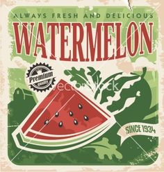 Vintage poster template for watermelon farm vector by Lukeruk on VectorStock®