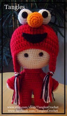CROCHET - BIG HEAD DOLL - BABYDOLL YO-YO - Elmo Big Head Baby Doll - Sesame Street / Rue / Straat