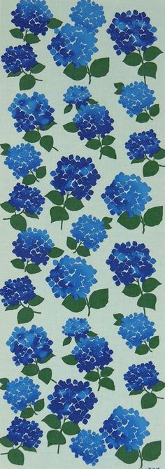 Japanese Tenugui Cotton Towel Fabric, Blue Hydrangea, Hand Dyed Fabric, Floral Design, Wall Art Hanging, Gift Wrapping, Scarf, JapanLovelyCrafts