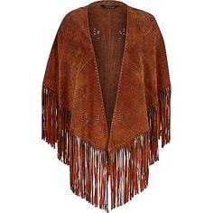 Brown laser cut suede fringed cape - capes / kimonos - coats / jackets - women