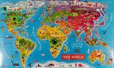Wereldkaart puzzel magnetisch