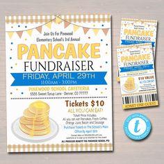 Pancake Breakfast Fundraiser Flyer Ticket Set, pto pta, Church Charity Community School Benefit Event, Flapjacks fundraising tips Benefit, Printable Tickets, Identity, Invitation Text, Invites, Fundraising Events, School Fundraising Ideas, School Fundraisers, Cheer Fundraiser Ideas