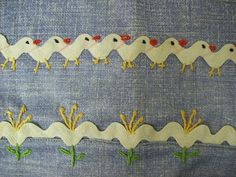 I ❤ embroidery . . . How cute! Chicks & Flowers !!!Embroidery around some ric rac would look adorable on the edge of a pillowcase or a quilt.