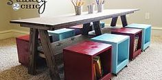 Kids' Table with storage cubes!