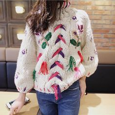 Floral Embroidered Cable Knit Sweater Pullover Winter Handmade
