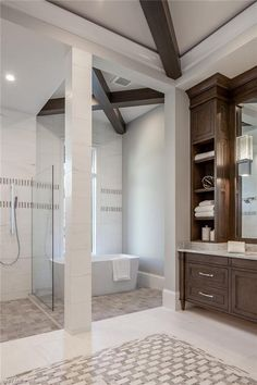 306 Neapolitan Way, Naples, FL 34103   Gorgeous tile work and ceiling beams in the master bathroom. Park Shore