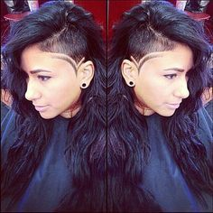 My next shaved side cut Shaved Side Hairstyles, Undercut Hairstyles, Hair Tattoo Designs, Hair Designs, Hair Inspo, Hair Inspiration, Shaved Head Designs, Curly Hair Styles, Natural Hair Styles