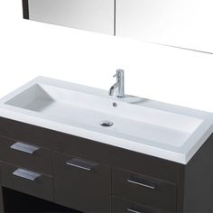 two faucets mounted so that it's a double sink; Trimon 48-inch Single-sink Bathroom Vanity Set | Overstock.com