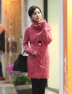 Turtleneck Long Sleeves Shaping Knitted Dress For Women - Milanoo.com