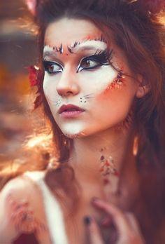 forest creature (Lord of the Hoops) fox costume makeup Fox Makeup, Animal Makeup, Cat Face Makeup, Costume Makeup, Diy Fox Costume, Fox Halloween Costume, Pretty Halloween Costumes, Halloween Look, Fantasy Make Up