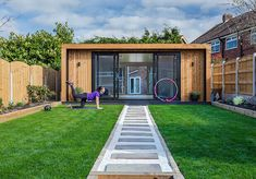 Garden Buildings | The UKs Leading Provider | Green Retreats Outdoor Garden Rooms, Outdoor Gym, Home Gym Decor, At Home Gym, Home Gym Design, House Design, Garden Design, Gym Shed, Garden Shed Gym Ideas
