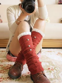 rivet & lace leg warmer $17.66 #asianicandy  #morigirl #legwarmer #indiefashion