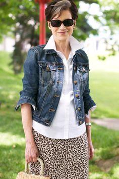 Karen is 71. Love older women w/style..skirt/blouse/jean jacket...she looks fabulous!!