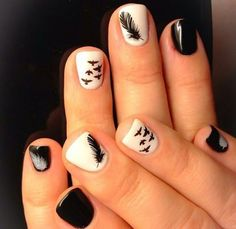 feather, black and white Acrylic Nail Designs