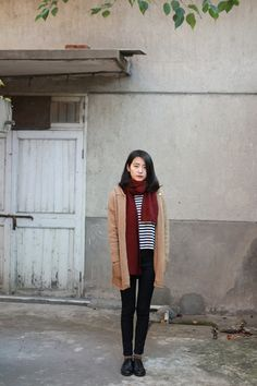 Coat, scarf, stripes. Korean fashion has been inspiring me so much lately. I can't wait till winter.