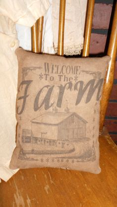 Welcome to the Farm Feed Sack Pillow by DownOnCrippleCreek on Etsy, $9.99