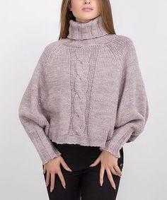 Purple Cowl Neck Wool-Blend Sweater