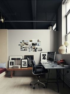 Photographer Pia Ulin also utilizes a mood wall in her home office. Photograph by Pia Ulin, from Light and Shadow: Photographer Pia Ulin at Home in Brooklyn. Interior Design Examples, Office Interior Design, Office Interiors, Interior Design Inspiration, Interior And Exterior, Workspace Inspiration, Interior Styling, Modern Interiors, Design Blogs